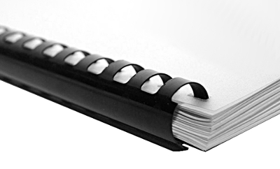 Exemple de reliure par baguette anneaux plastiques