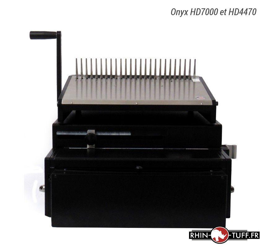 Perforateur électrique Onyx HD7000 avec relieuse Onyx HD4470 pour anneaux plastiques