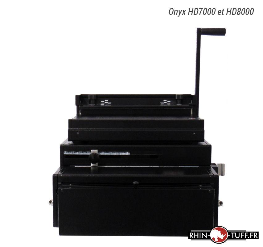 Relieuse Onyx HD8000 pour anneaux métalliques 2:1 et 3:1 avec perforateur HD7000