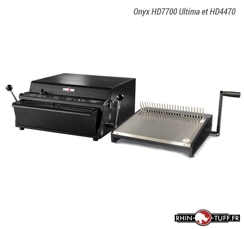 Perforateur électronique Onyx HD7700 Ultima et relieuse manuelle HD4470 pour anneaux plastiques