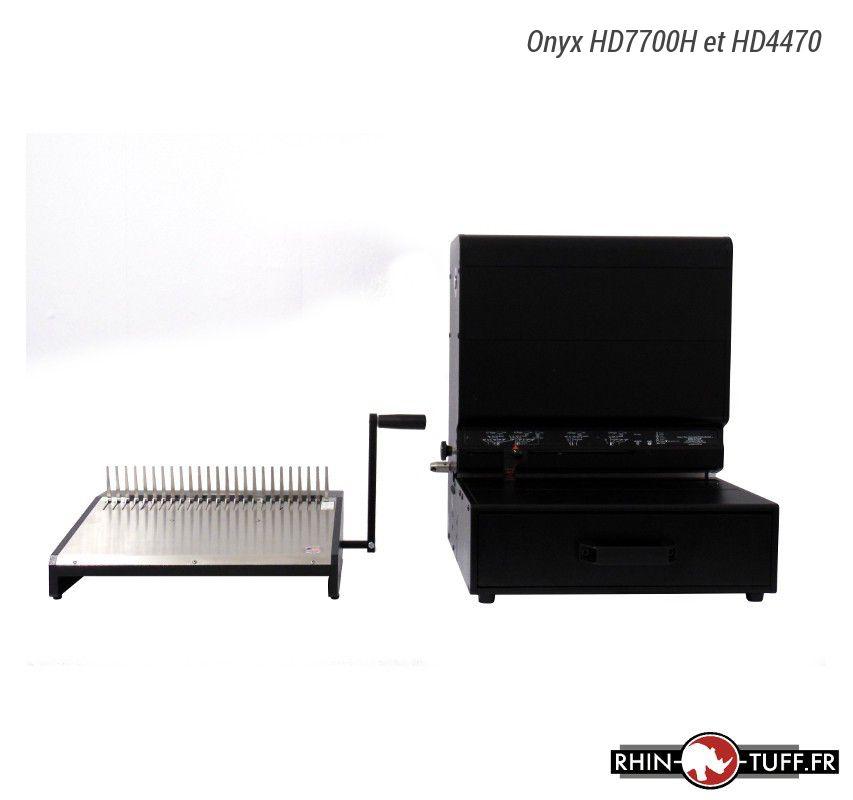 Perforateur électrique Onyx HD7700H et relieuse manuelle Onyx HD4470 pour anneaux plastiques