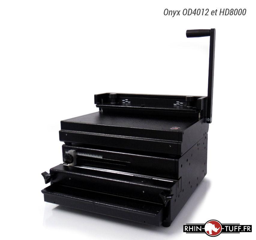 Perforateur électrique Onyx OD4012 avec relieuse manuelle Onyx HD8000 pour anneaux métaliques