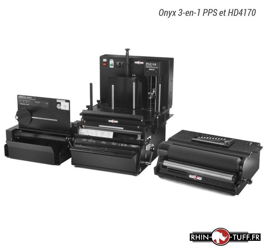 Station semi-automatique de perforation du papier Onyx 3-en-1 PPS avec relieuse électrique Onyx HD4170 pour spirales coil