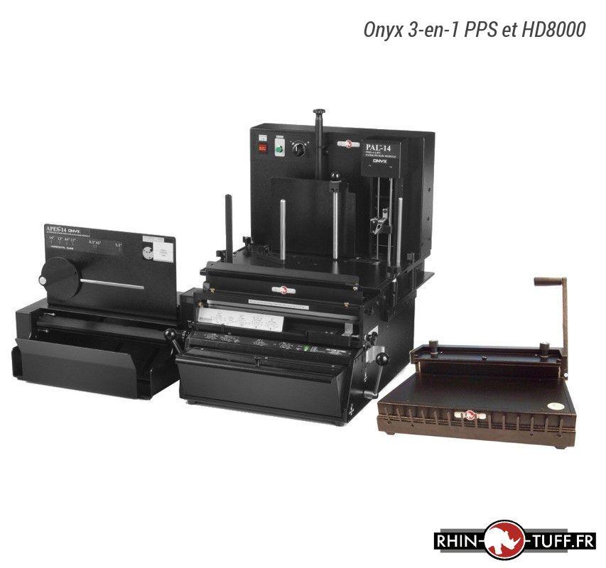 Station semi-automatique de perforation du papier Onyx 3-en-1 PPS avec relieuse manuelle Onyx HD4470 pour anneaux plastiques