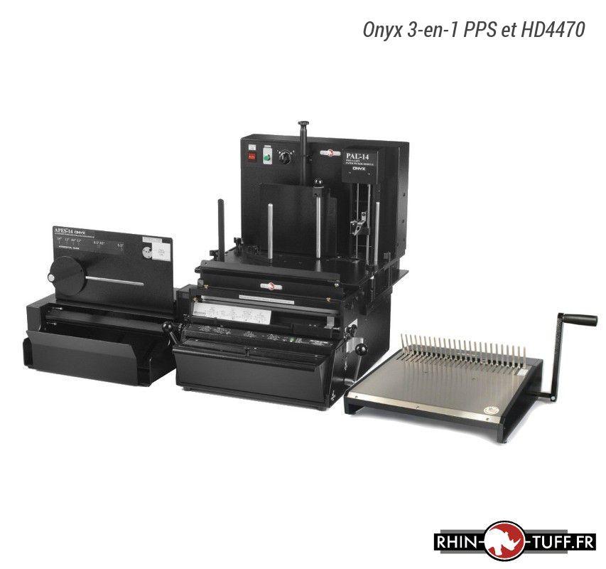 Station semi-automatique de perforation du papier Onyx 3-en-1 PPS avec relieuse manuelle Onyx HD8000 pour anneaux métalliques