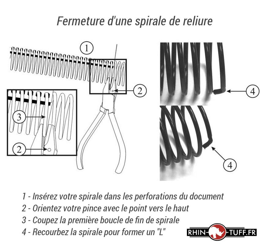 Outil pour recourber les extrémités des spirales sur la relieuse électrique Onyx HD4170 pour spirales coil