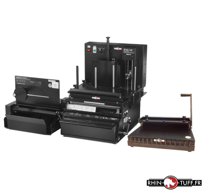 Station semi-automatique de perforation du papier Onyx 3-en-1 avec relieuse manuelle Onyx HD8000 pour anneaux métalliques